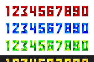 numbers 0-9 polygonal style