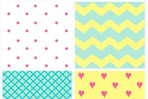 Pattern with dots and hearts light 3