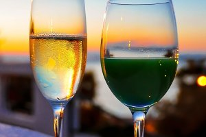 Champagne and Cocktail with Sunset