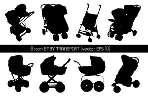 Baby transport Icon (baby carriages)