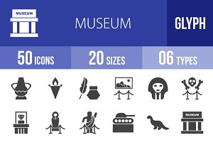 50 Museum Glyph Icons