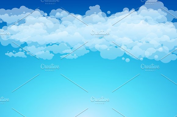 Blue sky with clouds. Vector - Graphics