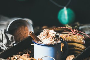 Mug of hot chocolate & garland