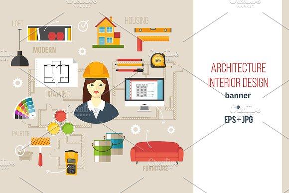 Architecture interior design banner presentation for Interior design banner images