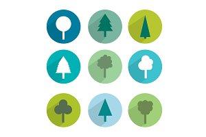 Trees icon set.