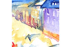 Watercolor illuminated street town