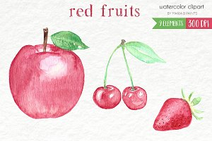 Watercolor Clip Art - Red Fruits
