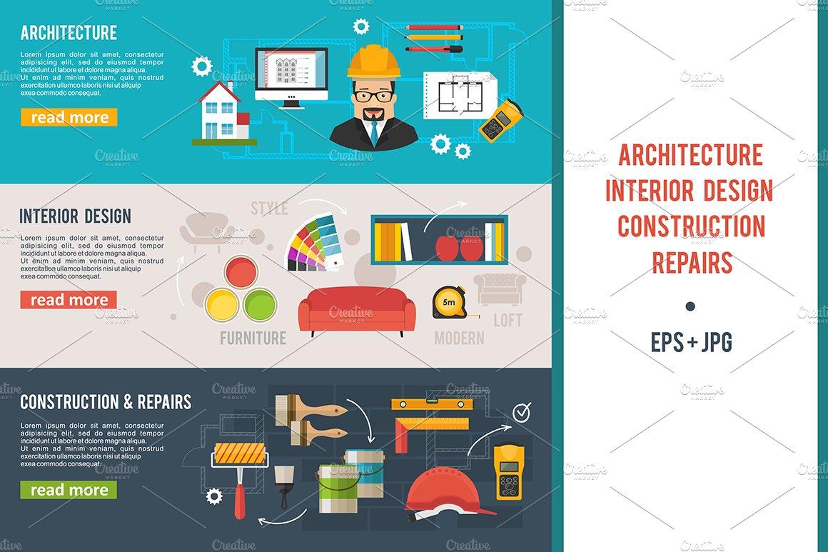 Architecture Interior Design Banner Presentation Templates Creative Market