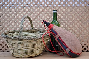 wineskin and basket