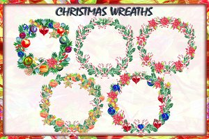 5 Watercolor Christmas Wreaths.