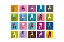 Chairs icons set.