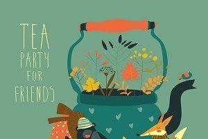 Animals sitting around teapot