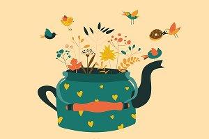 Cute teapot with autumn herbs
