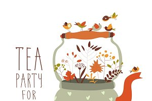 Tea party with teapot and cups