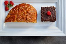 tray with sweet bread and chocolate