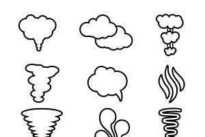 Steam, cloud and smoke icons set