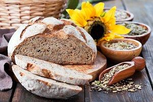 Whole grain bread with seeds of sunflower, pumpkin, flax and hemp