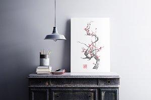 Plum blossom sumi-e painting