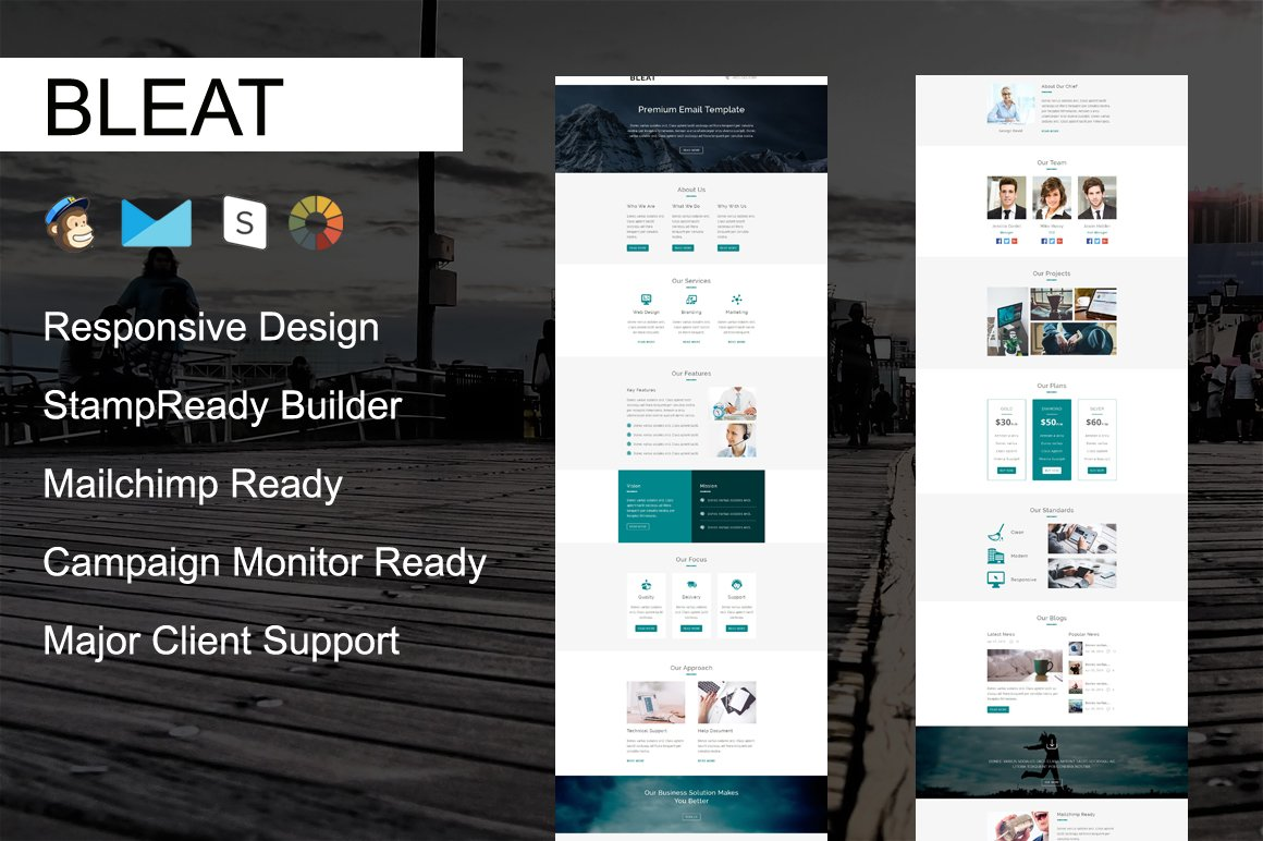 BLEAT - Responsive Email Template ~ Email Templates ~ Creative Market