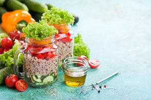 Quinoa and fresh vegetable salad