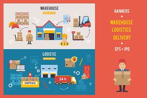 Warehouse and Logistics banners set