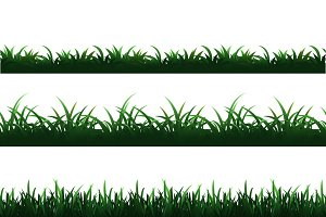 Green seamless grass borders