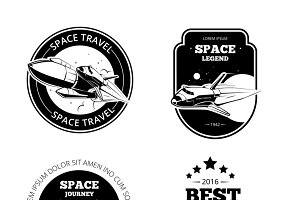 Vintage astronaut vector labels