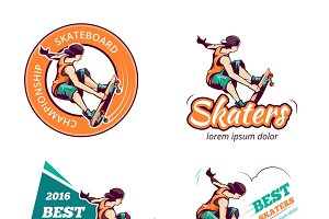 Skateboard vintage color logo set