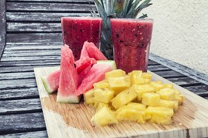 Smoothie of watermelon and pineapple