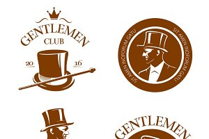 Retro gentlemen club emblems