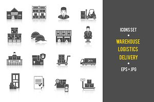 Warehouse and Logistics icons set