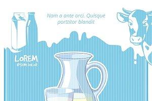 Vintage milk vector poster