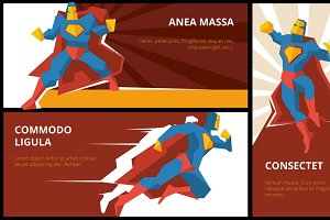 Superhero banners vector set