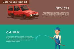 Set of car washing service