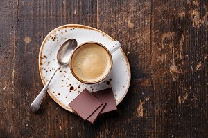 Espresso cup with chocolate