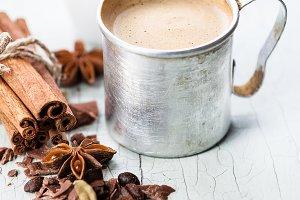 Coffee in aluminum mug