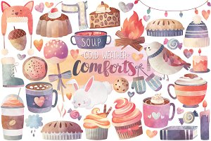 Watercolor Autumn & Winter Clipart