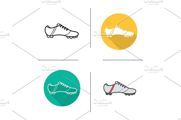 Football boots. 4 icons. Vector - Icons