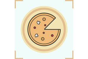 Pizza color icon. Vector