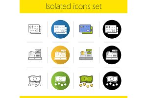 Supermarket shopping icons. Vector