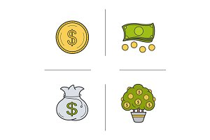Money. 4 color icons. Vector