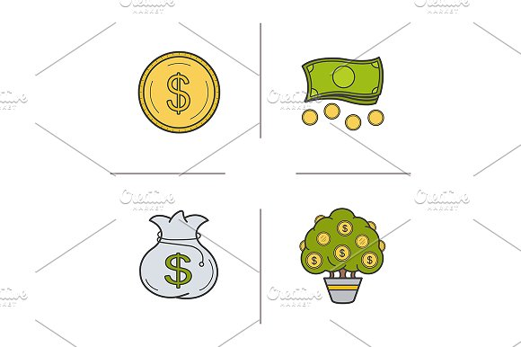 Money. 4 color icons. Vector - Icons