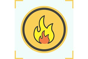 Flammable sign color icon. Vector