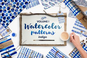 Indigo blue watercolour patterns I
