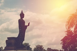 Silhouette big image of Buddha