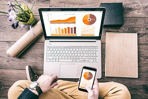 Man with Laptop financial report