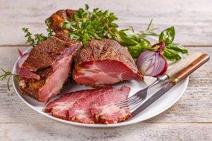 Piece of smoked pork meat