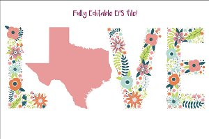 I Love Texas - EPS Vector file