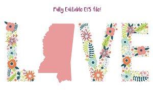 I Love Mississippi Fully Editable