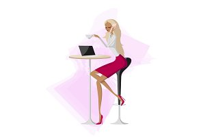 Vector business woman talking mobile